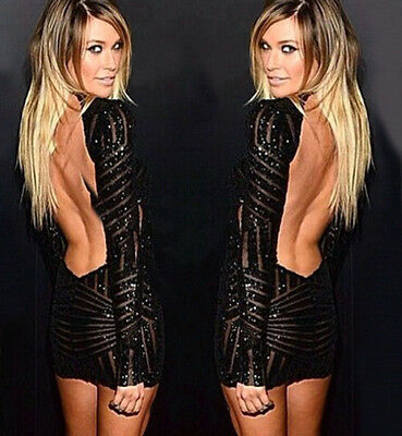NEW sexy Women  backless bodycon Sequin pencil mini Dress party Dresses lw