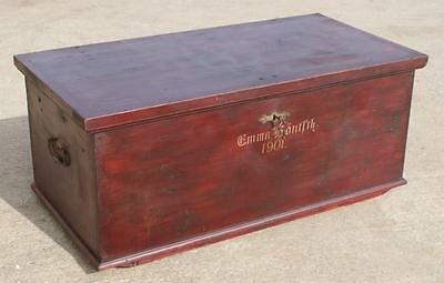 Antique German Original Painted Pine Trunk, Box, Chest, Coffer, Coffee Table