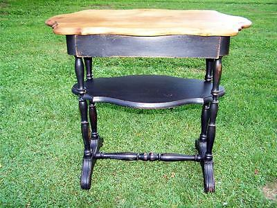 Antique Primitive Table w/ Scalloped Pine Top Black Base 1 Drawer New Wax Finish