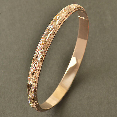 Gorgeous 9K Rose Gold Filled EMBOSSED Womens Bangle Bracelet,58mm,Z4000