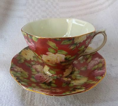 Lovely Floral Chintz Rose Tea Cup and Saucer Set