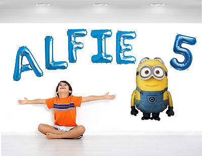 PERSONALISED BOYS BIRTHDAY BALLOON Banner Wall Display Any Name Age Characters