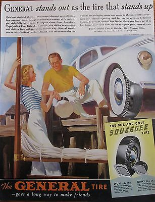 General Tire 1930s Ad with Couple, sailing boat , and Car