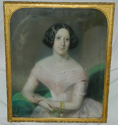 LARGE Signed HASTINGS 1851 Antique Chalk PASTEL Painting LADY in PINK Portrait