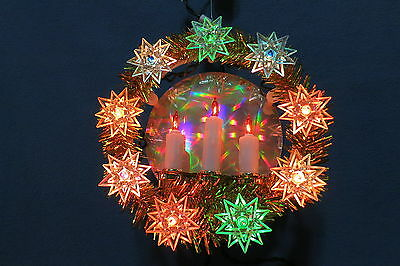 Christmas Hanging Wreath w 9 Star & 3 Candle Multi-Colored Lights Mirror Tinsel