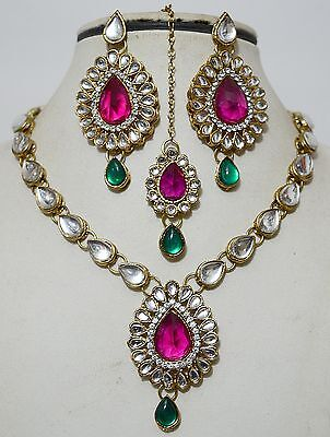 Indian Antique Gold Plated Stones Kundan Necklace Earrings Bollywood Jewelry Set