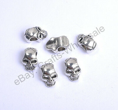 10pcs Tibetan Silver Charms Skull Loose Spacer Beads 12X8MM CA809