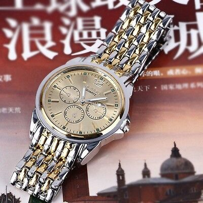 Men's Luxury Gold Stainless Steel Band 3 Pointers Quartz Watch Wristwatch Hot