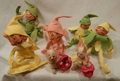 Annalee Spring Lot of 7 Pose-able Elves and Mini Rabbits with Baskets EUC!!