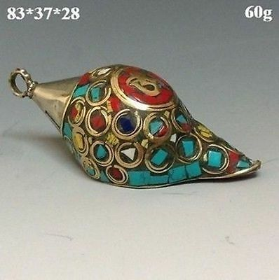 Old Ancient Chinese Turquoise Jewelry & Tibetan Silver Conch