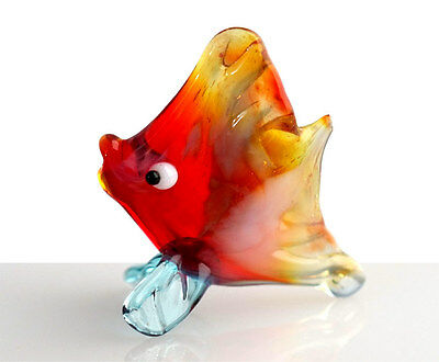 Blown Glass Exotic Fish Figurine, Russian Murano Art Hand Dollhouse Miniature
