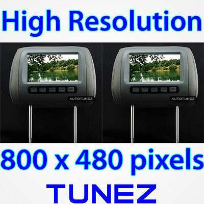 "2 x 7"" Dual HD Headrest Pillow Rear Monitor Screen Display For Car DVD Player KT"