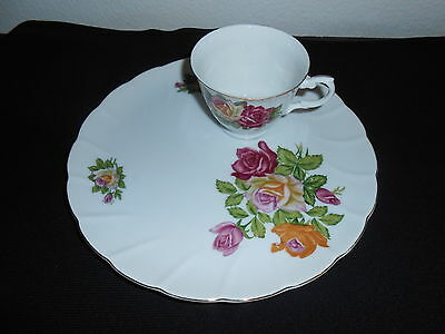 Vintage Fancy China Snack Lunch Tea Cup and Plate Set Roses Gold Trim Unique