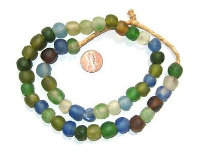Mixed Recycled Glass Beads 14mm Ghana African Sea Glass Multicolor Round