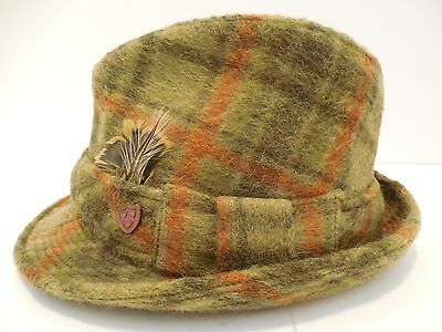 Mens Vintage Fedora Plaid Hat 1947-1964 (Post WWII-Early 60's) Felt, Size 7 3/8