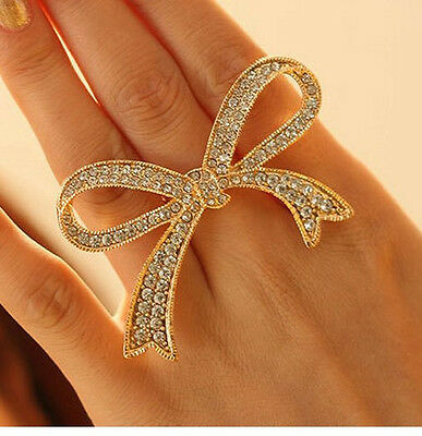 New Hot Woman Vogue Sexy Punk Gold Crystal Bowknot Ring Adjustable
