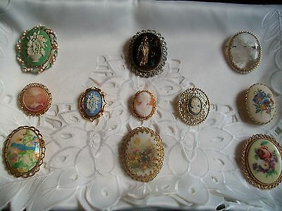 Lot Of 11 Vintage BEAUTIFUL Old Cameos In Various Size.