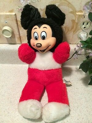 Vintage Mickey Mouse Plush Disney Productions - Japan Stuffed Toy Rubber Face