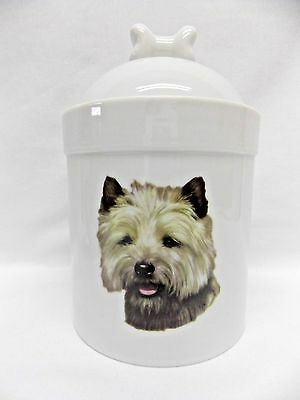 Cairn Terrier Dog Porcelain Treat Jar Fired Head Decal on Front 8 In Tall