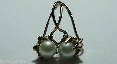 SOVIET USSR RUSSIAN VINTAGE ANTIQUE PEARL ROSE GOLD 583 14K EARRINGS PRETTY RARE