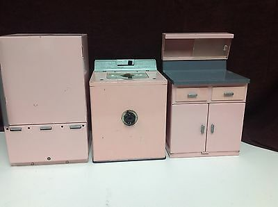 General Electric Kitchen Structo Pink 3 PC Set Washer, Refrigerator & Cabinet