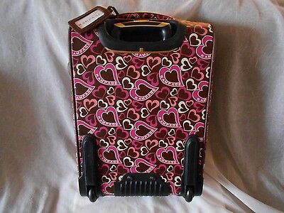 "RAMPAGE 20"" WHEELED CARRY-ON ROLLING UPRIGHT TRAVEL LUGGAGE NEW! HEARTS DESIGN !"