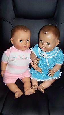 Vintage American Character Baby doll lot of 2 sisters drink n wet jointed