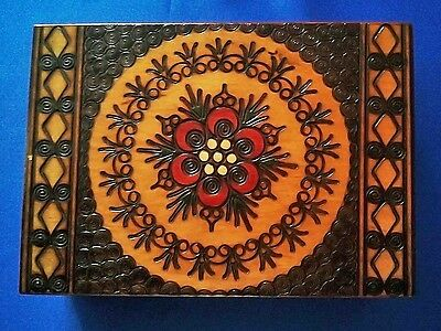 Jewellery , Sewing Box   Wooden Russian Hand Made Decorated Adorned Engraved