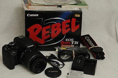 CANON EOS REBEL T3i 18MP CAMERA BODY BUNDLE w/18-55mm IS, BATT., CHARGER, BOXED