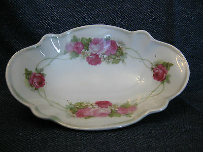 Antique KPM oval porcelain hand painted rose candy  dish