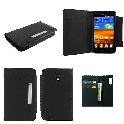 CARBON FIBER PU LEATHER POUCH CASE FOR SAMSUNG GALAXY S2 EPIC TOUCH D710 +COMBO