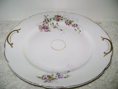 """1890-1895 KPM, GERMANY, 9 5/8"""" PLATE WITH PURPLE & DARK PINK FLORAL"""