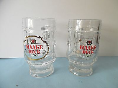 LOT OF TWO Haake Beck Pils German Beer Mug 0.3L - Clear Glass - Good Condition