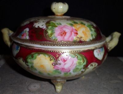 Asian Handpainted Decorative Porcelain Bowl Biscuit Jar Dome Lid Wheelock Japan