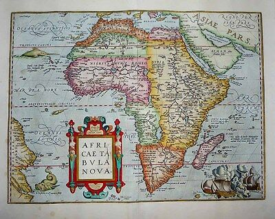 1603 (1570) Ortelius Map AFRICA Grand Continent Survey, Sea Monsters, Decorative