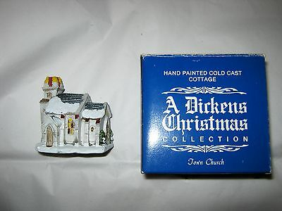 VTG A Dickens Christmas Collection Town Church w/box Taiwan handpainted