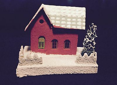 Vintage Christmas Putz Cardboard House Red, Windows Intact Green Tree Japan Mica