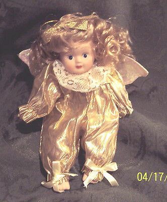 """DOLL PORCELAIN ANGEL HEAVENLY GIRL  WHITE/ PINK/GOLD OUTFIT  7.5"""""""