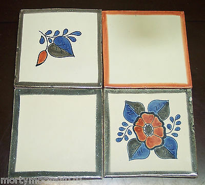 Mexican Glazed Hand Painted Ceramic Clay Tile - 4 Pieces Crafts