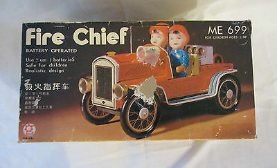 VINTAGE FIRE CHIEF VEHICLE (ME-699) BATTERY OPERATED – MADE IN CHINA –TIN/ METAL