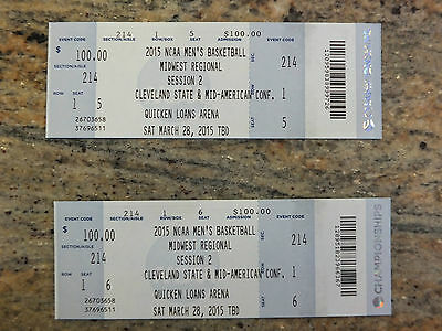 2 Tickets to NCAA Basketball Midwest Region Final in Cleveland on March 28th