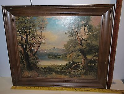 "Beautiful Landscape reproduction Painting by Robert Wood 23.75"" x 19.75"" Signed"