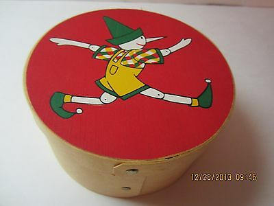 Vintage Wooden Pinocchio Christmas Box/Container