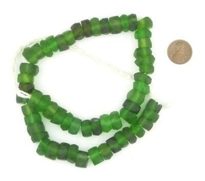 Green Faceted Recycled Java Sea Glass Beads 11mm Indonesia Large Hole