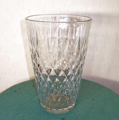 "HEAVY, CLEAR, PRESSED  10"" INVERTED DIAMOND PATTERN FLORAL VASE BY HOOSIER GLASS"