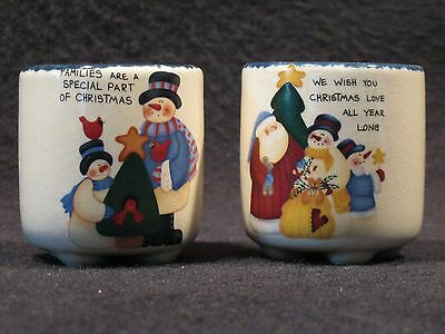 Christmas Votive Candles Set of 2 Snowman Santa Merry Christmas New with Candles