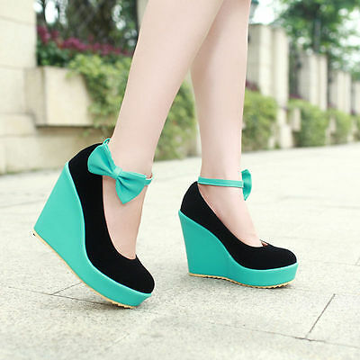 Womens High Heel Platform Wedge Buckle Bowknot Candy Roma Lolita Shoes Blue US 7