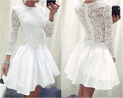 Sexy Women White Long Sleeve Prom Ball Cocktail Party Mini Dress Gown M MOO
