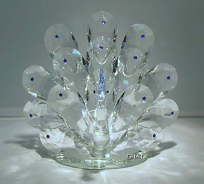 19cm Crystal Blue Peacock Wedding Gift Event Home Decoration Swarovski Look