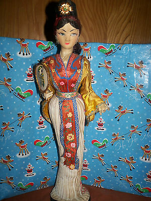 """Vintage 15"""" Japanese Geisha Doll w/Japanese Outfit & Plastic Stand"""